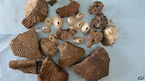 A picture taken on 1 September in Dakar shows objects which could date back between 2,000 and 7,000 BC