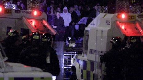 Rioters and PSNI officers