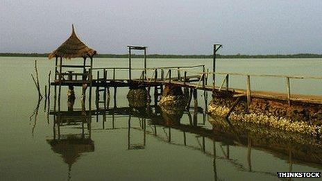 Jetty on the river Gambia
