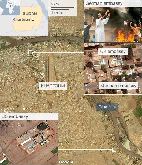 Map of Khartoum showing embassies