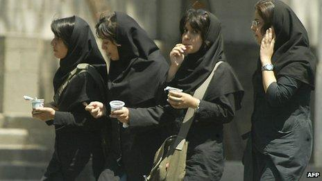 Tehran University students in Tehran, Feb 2005