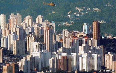 Helicopter flies over Sao Paulo