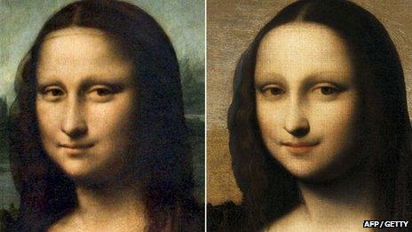 Mona Lisa Leonardo Da Vinci (chwith) a'r Isleworth Mona Lisa