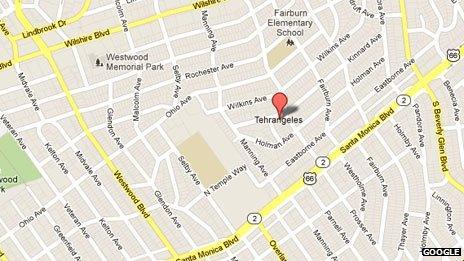 Google map showing Tehrangeles