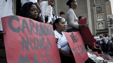 Demonstrators at act to mark the 20th anniversary of the Carandiru massacre