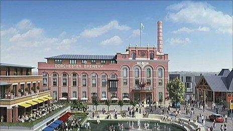 Artist's impression of the Brewery Square development in Dorchester