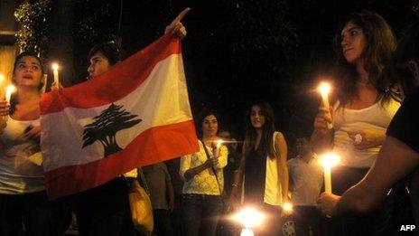 Candle-light vigil in Beirut near car bomb scene (19 October)