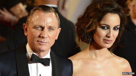 Daniel Craig and Berenice Marlohe at the royal world premiere of Skyfall at the Royal Albert Hall in London