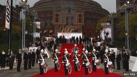 A British military band performs as guests arrive for the royal world premiere of Skyfall at the Royal Albert Hall in London