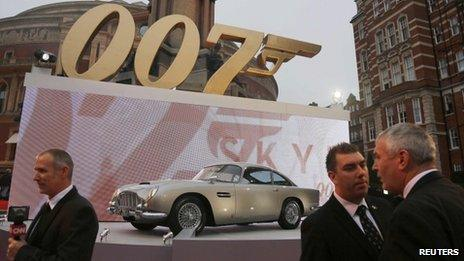 An Aston Martin car is displayed at the royal world premiere of Skyfall at the Royal Albert Hall in London