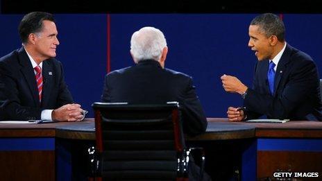 Mitt Romney and Barack Obama at the Lynn University debate