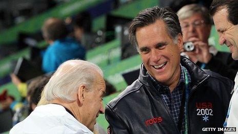 Joe Biden and Mitt Romney at an Olympic hockey game in 2010