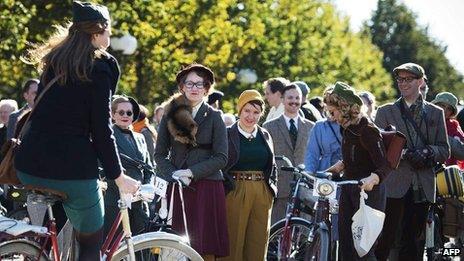 Tweed bike ride in Stockholm
