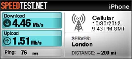 Screenshot of download speed