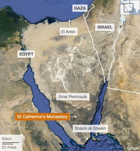 Map showing Sinai peninsula and St Catherine's monastery