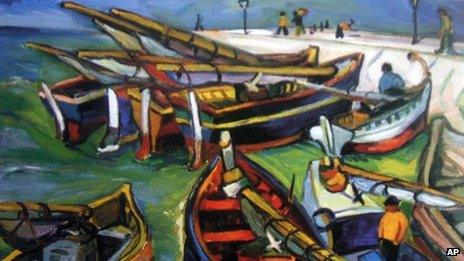 """This undated photo provided by The City of Tshwane on Monday, Nov. 12, 2012, shows a 1931 Irma Stern """"Fishing Boats"""" oil on canvas."""
