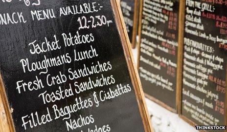 Lunch menu board