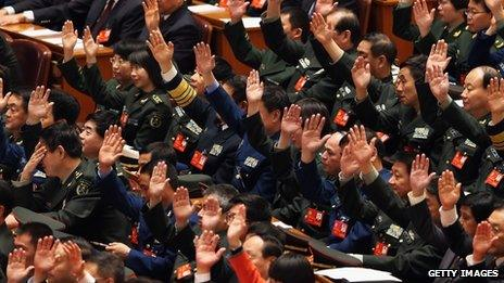 Party representatives voting in the Great Hall of the People