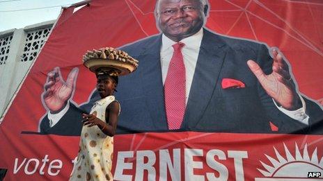 A poster of Sierra Leone's President Ernest Bai Koroma in Freetown, 14 November, 2012.
