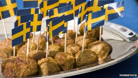 Meatballs with Swedish flag cocktail sticks
