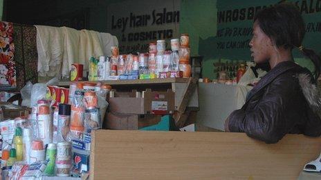 Skin lightening creams in a market in Yeoville, Johannesburg