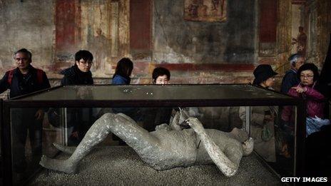 A cast of a Pompeii victim
