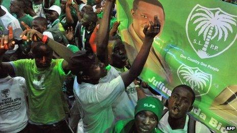 Supporters of Sierra Leone's People Party in Freetown on 15 November 2012