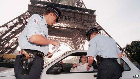 Police stop car in Paris, 1977