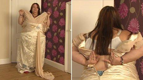 Mandy Halstead with the dress she received which did not fit at all