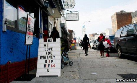 Tribute to Whitney Houston on sandwich board outside diner in her hometown of Newark, New Jersey