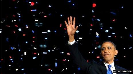 Barack Obama with victory confetti