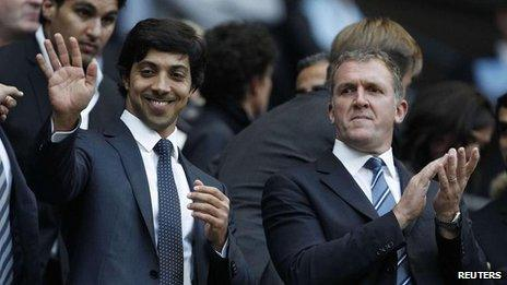 Manchester City owner Sheikh Mansour bin Zayed Al Nahyan (left) and former City chief executive Garry Cook