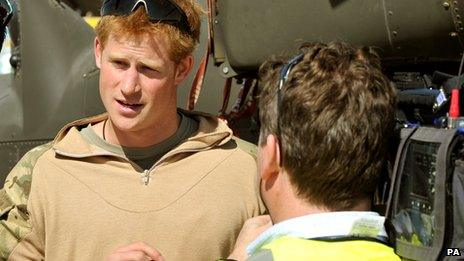Prince Harry being interviewed in Afghanistan