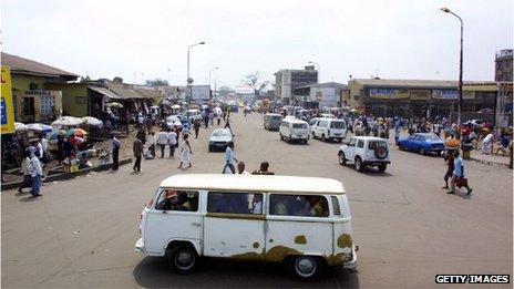 A street scene of Matonge district in Kinshasa, DRC