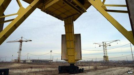 Site of unfinished nuclear plant in Belene, Bulgaria, 24 January 2013