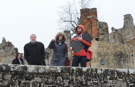 German investigators visit Oradour-sur-Glane, southern France, 29 January