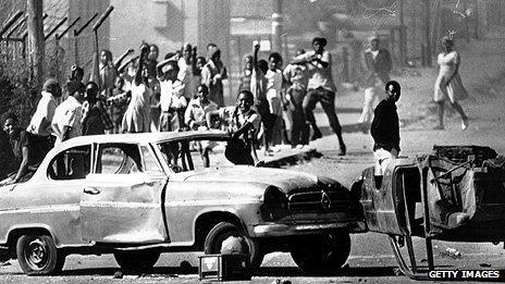 Protestors in Soweto in 1976