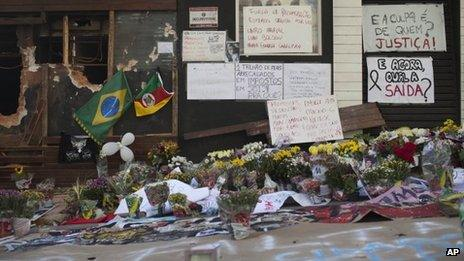 Flowers left in front of the Kiss nightclub in Santa Maria, southern Brazil
