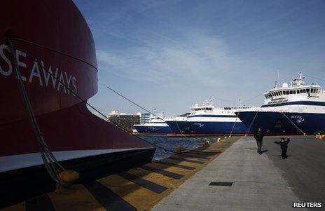 Ferries docked in Piraeus, near Athens, 3 February