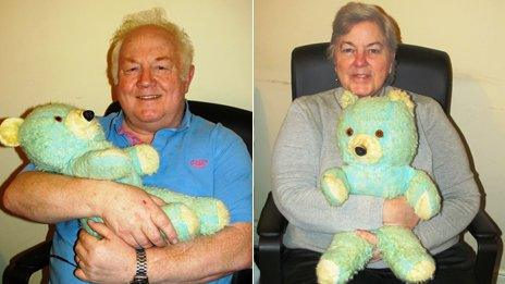 """Two separate photos of Bill and his wife each holding """"Ted E. Bear"""""""