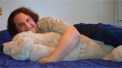 Benjamin with his polar bear teddy