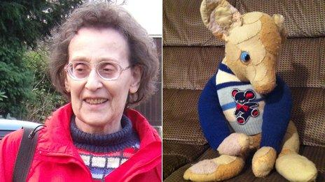 """Vera and her patched up bear with one eye, """"Big Ted"""""""