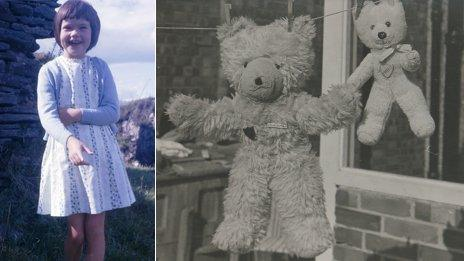 """Paula as a child (l) and """"Big Ted"""" and the lost """"Little Ted"""" hanging out to dry on a washing line"""