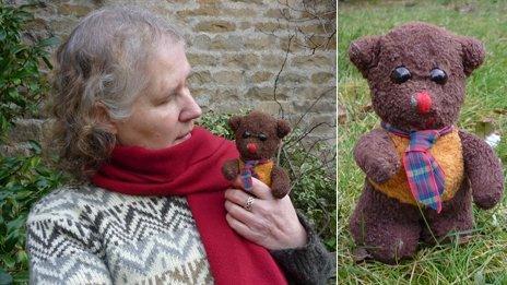 Heather holding her bear Frank; Frank in the garden