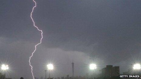 Lightning in Johannesburg, South Africa, December 2011 (Archive shot)
