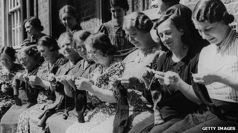 Women from South London knit socks for men fighting in WWII