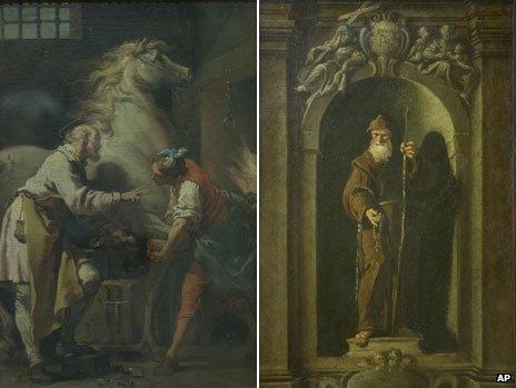 The Miracle of Saint Eloi by Gaetano Gandolfi and Saint Francis of Paola by Francesco Fontebasso
