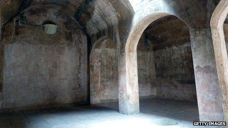 View inside the so-called El Aljibe (The Well), where heretics were imprisoned, at the Inquisition Museum, in Cartagena, Colombia