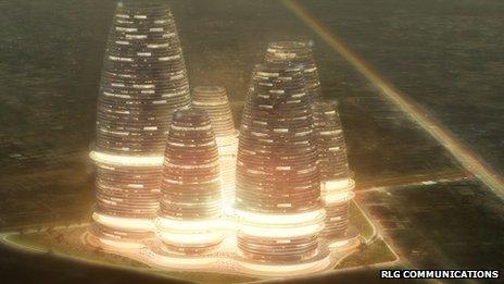 An artist's impression of a new IT hub in Ghana