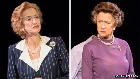 Hadyn Gwynne as Margaret Thatcher and Helen Mirren as The Queen in The Audience